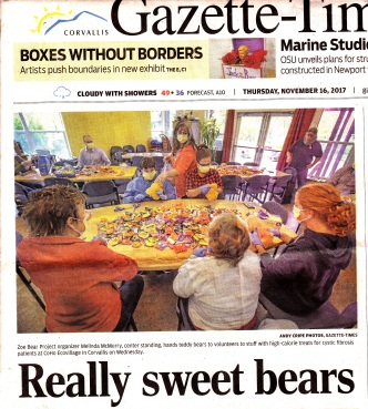 Gazette Times Really Sweet Bears 11-16-2017 page A1 cover image